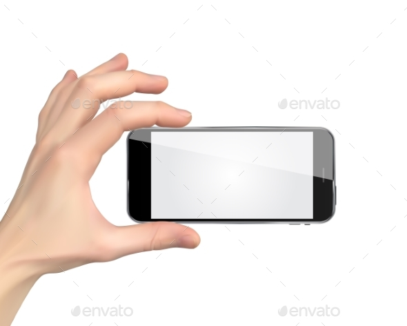 Realistic Hand Holding Mobile Phone Isolated - Media Technology