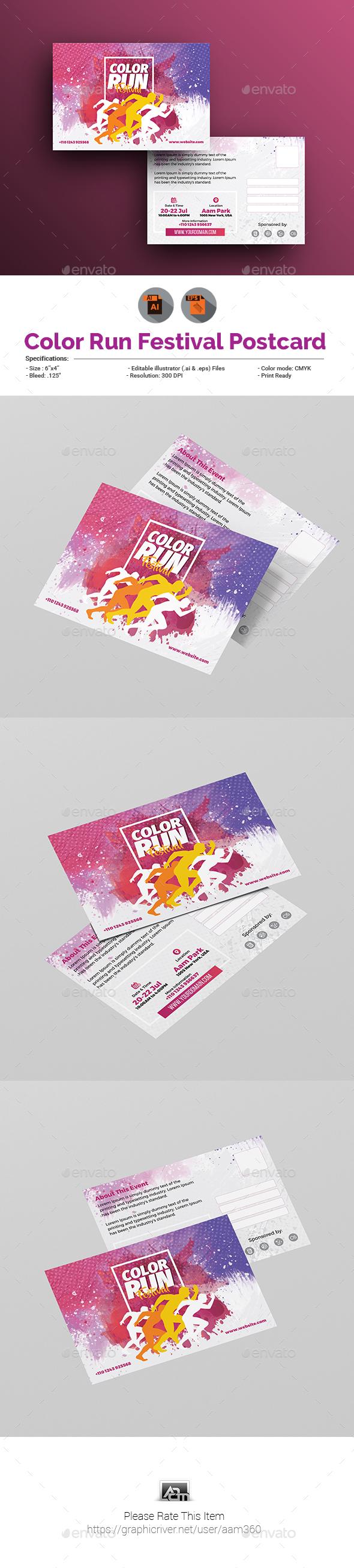 Color Run Festival Postcard Template - Cards & Invites Print Templates