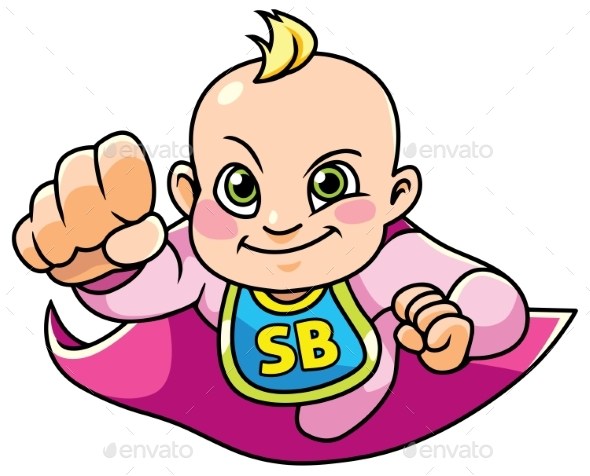 Super Baby Girl Flying - People Characters