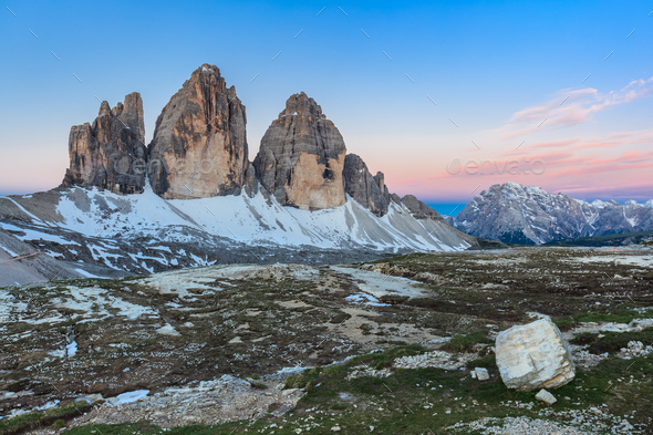 Tre Cime. Dolomite Alps, Italy - Stock Photo - Images