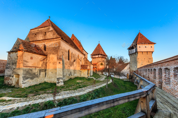 Alma Vii fortified church, Romania - Stock Photo - Images