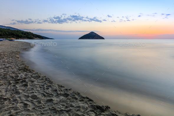 Paradise beach at sunrise. Greece - Stock Photo - Images