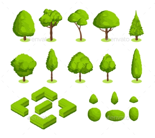Isometric 3d Vector Park and Garden Trees - Objects Vectors