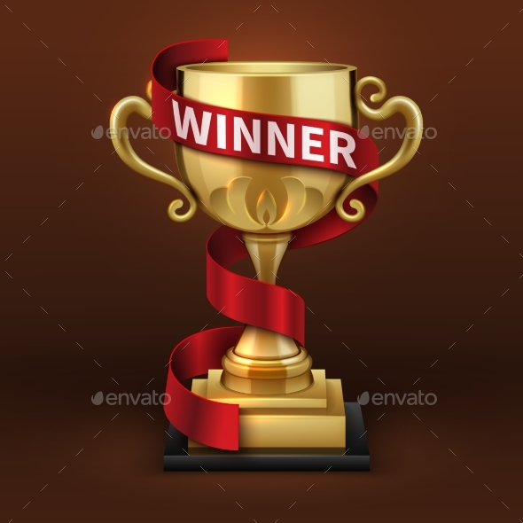 Champion Golden Trophy Cup with Red Winner Ribbon - Objects Vectors