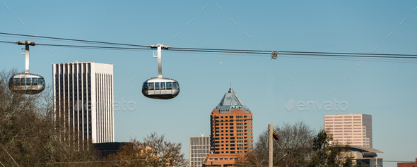 Aerial Tramway Portland Oregon Downtown City Skyline Cable Cars - Stock Photo - Images