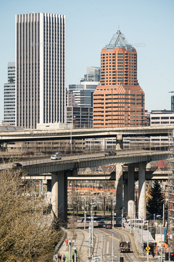 Interstate 5 Portland Oregon Highway Carries Cars South From Downtown - Stock Photo - Images