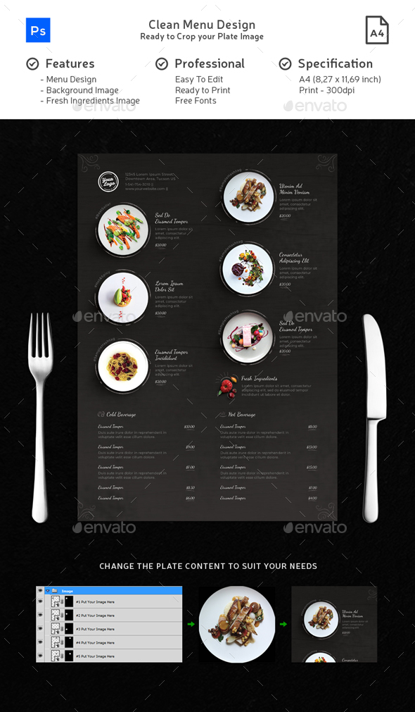 Food Plate Clean Menu Chalk Playful - Food Menus Print Templates