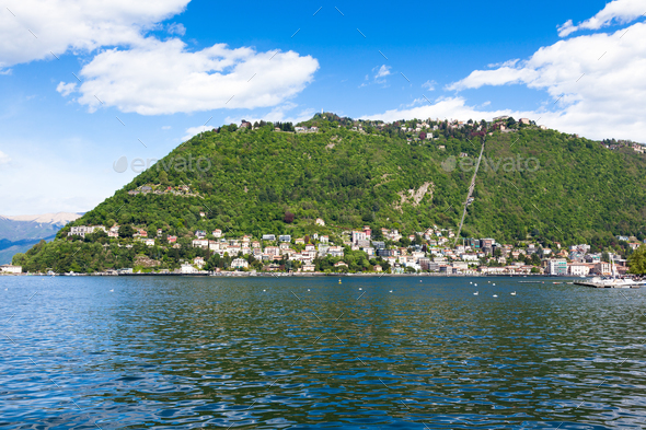 Como city and lake near Milan in Italy - Stock Photo - Images