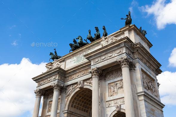 Triumph Arc - Arco Della Pace in Sempione park in Milan, Italy - Stock Photo - Images