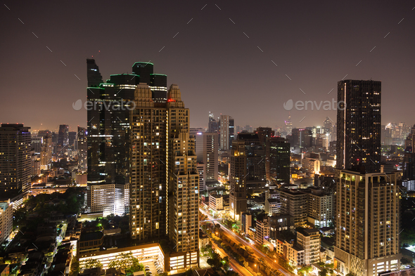 Bangkok aerial skyline view at night in Thailand - Stock Photo - Images