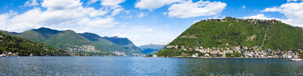 Panoramic view of Como city and lake near Milan in Italy - Stock Photo - Images