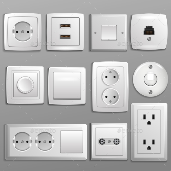 Socket and Switch Vector  - Objects Vectors