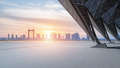 empty floor with cityscape of wuhan in sunset - PhotoDune Item for Sale