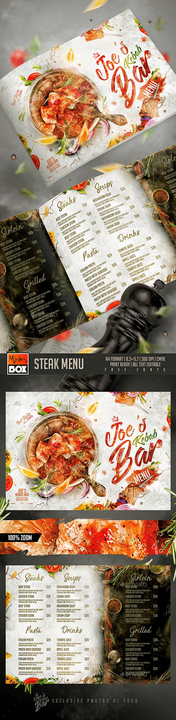 Steak Menu - Food Menus Print Templates