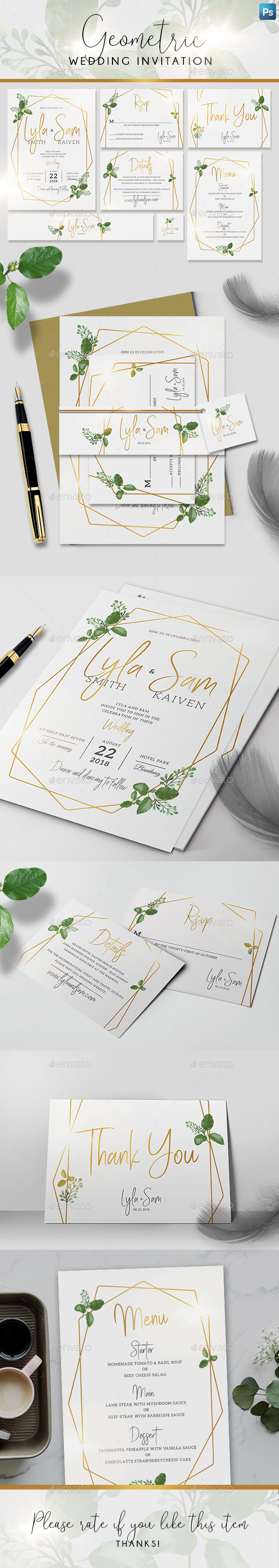 Geometric Wedding Invitation - Weddings Cards & Invites