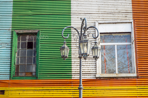 Colorful facade in the famous la Boca district  - Stock Photo - Images
