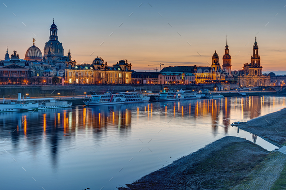 The old town of Dresden after sunset - Stock Photo - Images