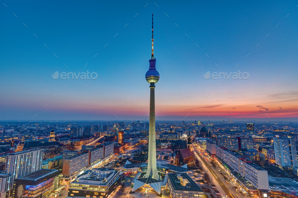 The Berlin skyline after sunset - Stock Photo - Images