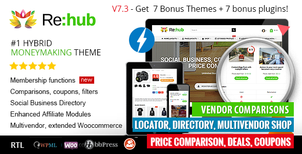 REHub - Price Comparison, Affiliate Marketing, Multi Vendor Store, Community Theme - Blog / Magazine WordPress