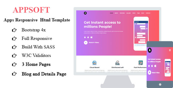 Image of Apps Soft - apps saas software showcase HTML5 responsive template