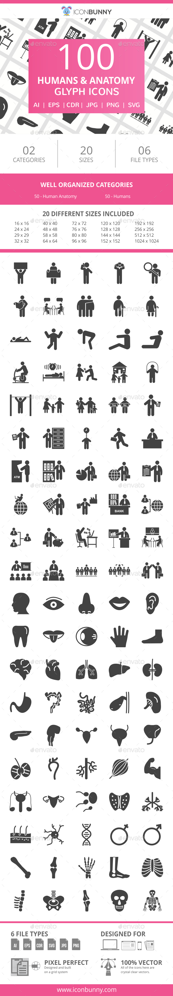 100 Humans & Anatomy Glyph Icons - Icons