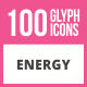 100 Energy Glyph Icons - GraphicRiver Item for Sale