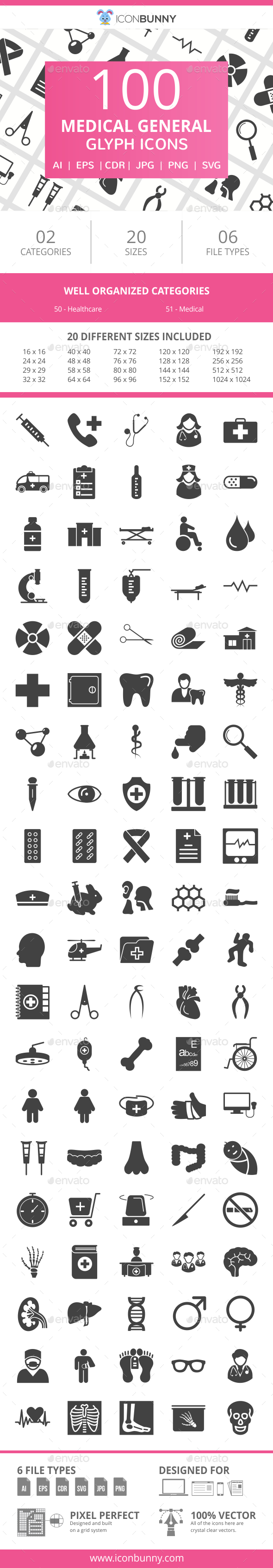100 Medical General Glyph Icons - Icons