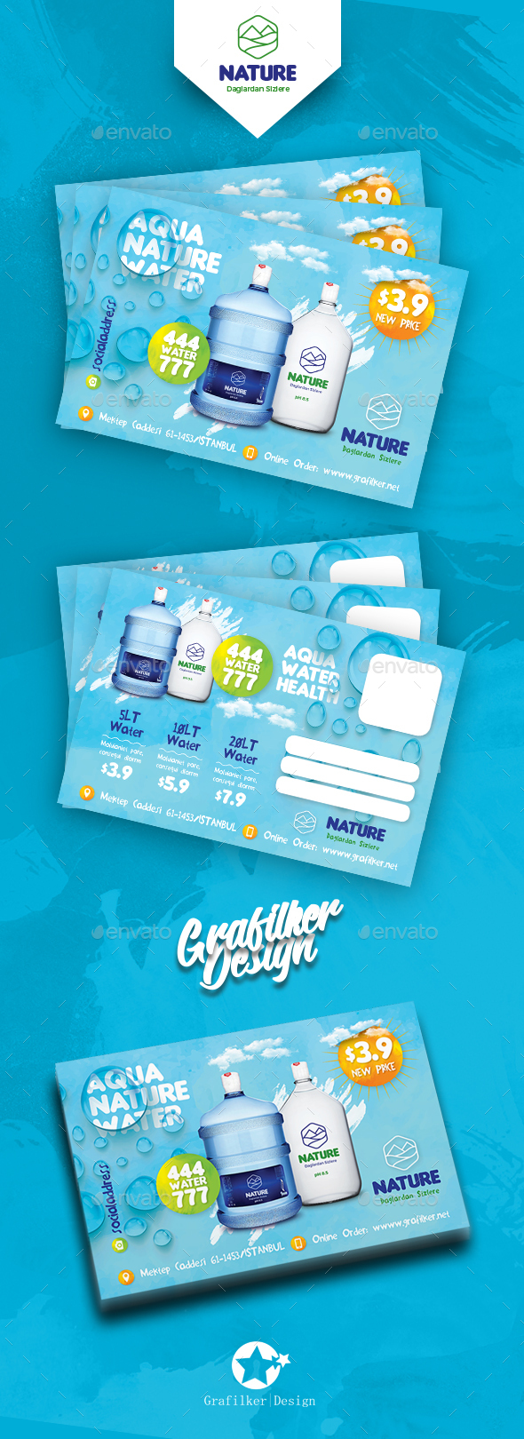Water Service Postcard Templates - Cards & Invites Print Templates