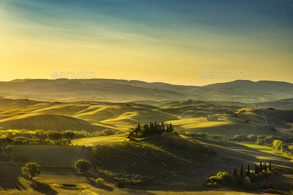 Tuscany countryside panorama, rolling hills and fields at sunris - Stock Photo - Images