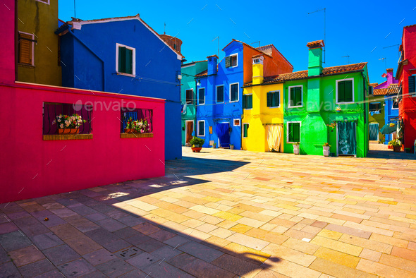 Venice landmark, Burano island square and colorful houses, Italy - Stock Photo - Images