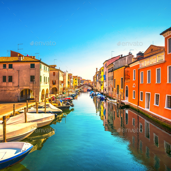 Chioggia town in venetian lagoon, water canal and church. Veneto - Stock Photo - Images