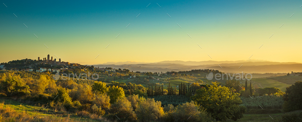 San Gimignano medieval town towers skyline and landscape. Tuscan - Stock Photo - Images