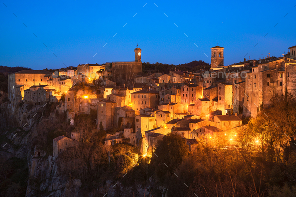 Tuscany, Sorano medieval village blue hour sunset panorama. Ital - Stock Photo - Images