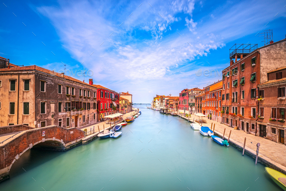 Venice water canal in Cannaregio. Italy - Stock Photo - Images