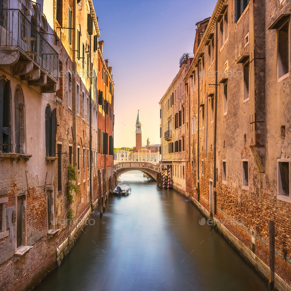 Venice cityscape, water canal, campanile church and bridge. Ital - Stock Photo - Images