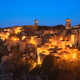 Tuscany, Sorano medieval village blue hour sunset panorama. Ital - PhotoDune Item for Sale
