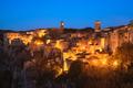 Tuscany, Sorano medieval village blue hour sunset panorama. Ital - PhotoDune Item for Sale
