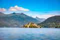 Orta Lake landscape. Orta San Giulio village and island Isola S. - PhotoDune Item for Sale