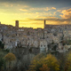 Tuscany, Sorano medieval village panorama sunset. Italy - PhotoDune Item for Sale