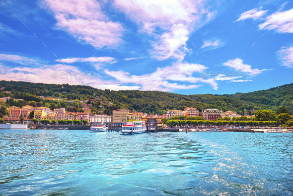 Stresa ferry port and skyline in Maggiore lake. Piedmont Italy - Stock Photo - Images