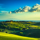 Maremma countryside, sunset landscape. Elba island on horizon. T - PhotoDune Item for Sale
