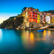 Riomaggiore town, cape and sea landscape at sunset. Cinque Terre - PhotoDune Item for Sale