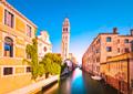 Venice sunset in San Giorgio dei Greci water canal and church ca - PhotoDune Item for Sale