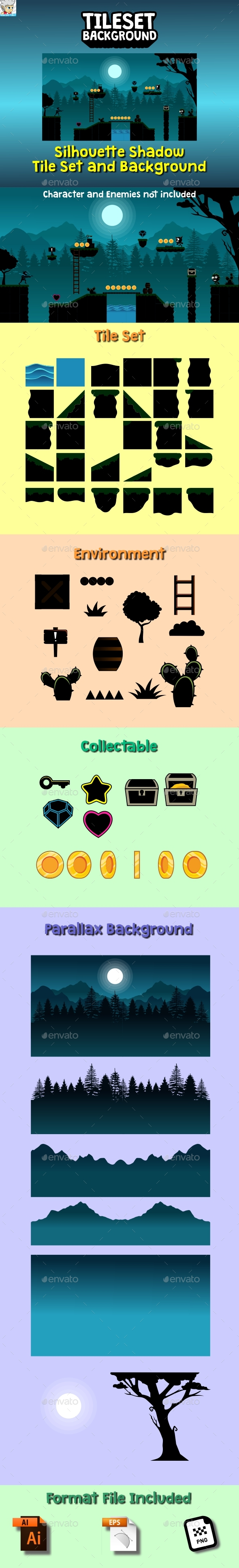 Silhouette Shadow Tileset and Background - Tilesets Game Assets