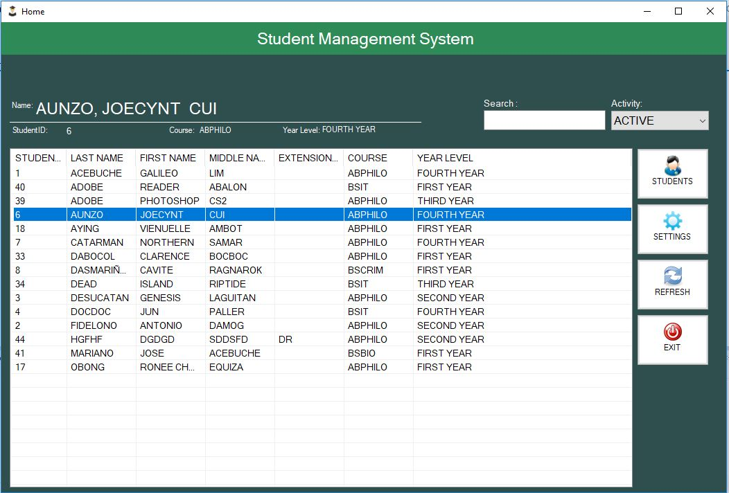 Simple Student Record Management System with full source code