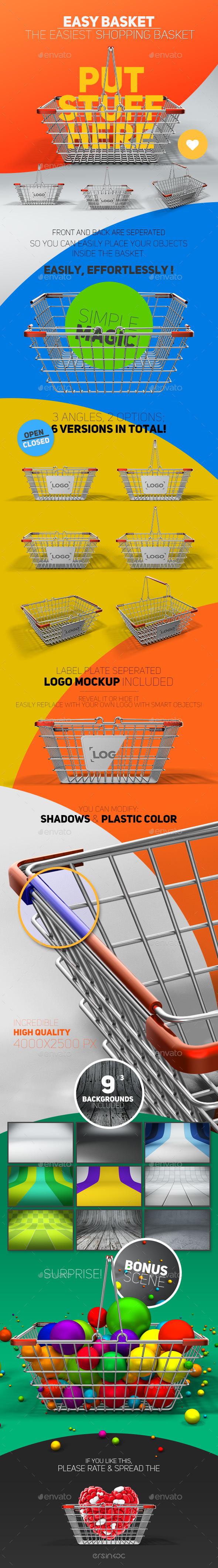 Easy Basket Chrome Metal Shopping Basket Mockup - Objects 3D Renders