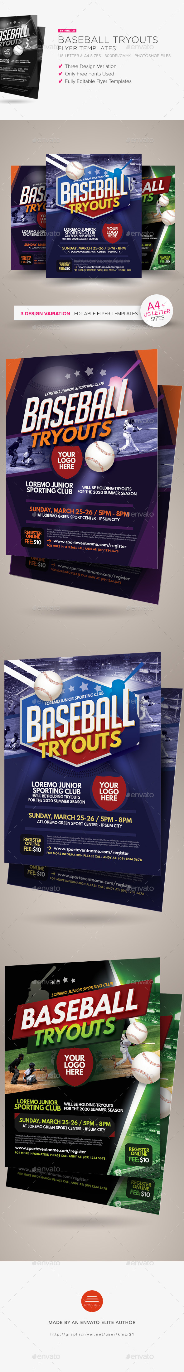 Baseball Tryouts Flyer Templates - Sports Events