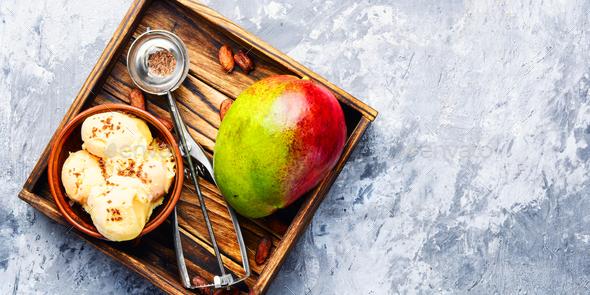 Ice cream with mango flavor - Stock Photo - Images