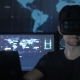 Man Hacker Programmer Uses a Virtual Reality Helmet for Programming - VideoHive Item for Sale