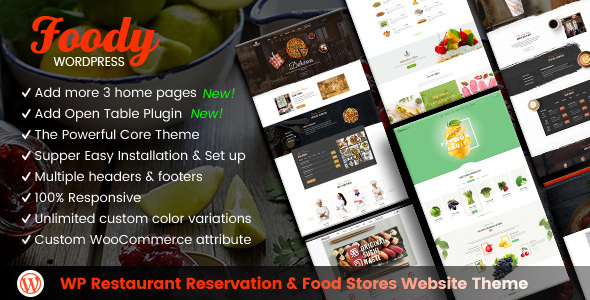 Foody - WordPress Restaurant Reservation & Food Store Website Theme